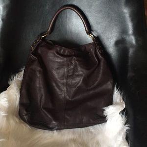 Chocolate Brown Leather Lucky Brand Hobo Bag